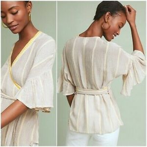 Maeve Visby Wrap Top Yellow Ruffle Anthropologie